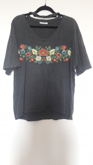 Oversized Shirt mit blumenstickerei von Zara