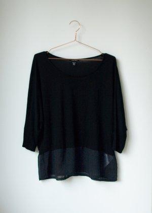 Oversized Shirt mit transparentem Einsatz M/L Neu schwarz