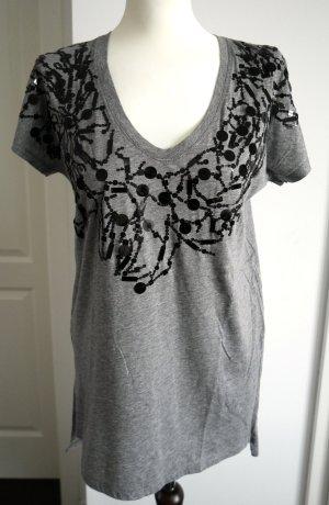Oversized Shirt von BCBG in grau mit Pailletten und Verzierungen