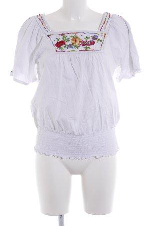 Top extra-large blanc motif de fleur style décontracté