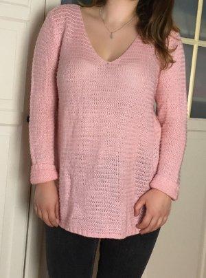 Oversized Strick Pullover von H&M in Rosa, Größe M