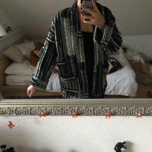 Oversized Strickjacke schwarz/weiß