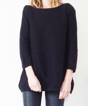 oversized Strickpullover gerippt schwarz H&M