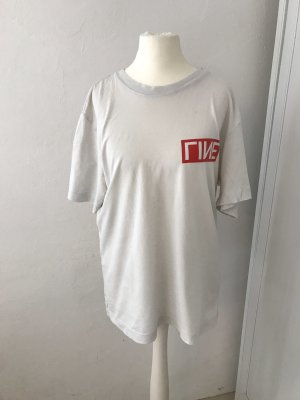 H&M Oversized Shirt white-red