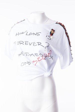 Oversized T-Shirt mit Statmentprint 'How Long is Forever' Weiß und Perlenbesatz (One Size)