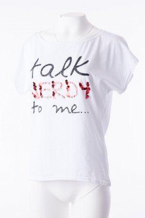 Oversized T-Shirt 'Talk Nerdy to Me' Weiß One Size NEU
