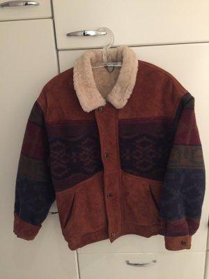 Oversized Vintage Lederjacke mit echtem Lammfell