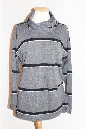 Oversized Vintage Pulli Long Sleeves Grau Schwarz Silber gestreift 38- 42
