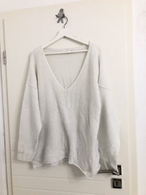 Oversized weiter Pullover mit V-Ausschnitt weiß