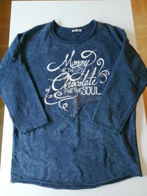 Made in Italy Pull oversize blanc-bleu foncé