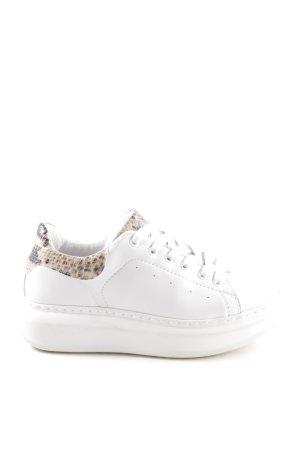 Ovyé Sneakers met veters wit-wolwit dierenprint casual uitstraling