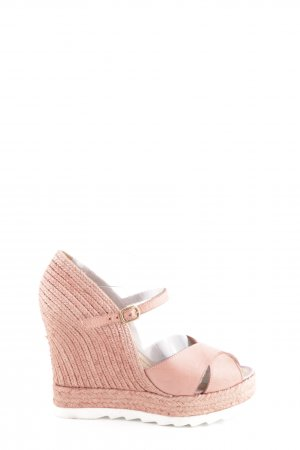 Ovyé Wedges Sandaletten pink Zopfmuster Casual-Look