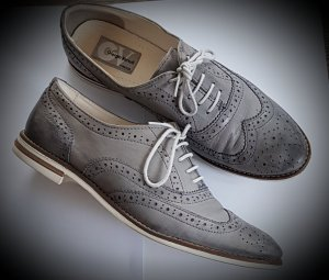 Oxfords slate-gray-pale blue leather