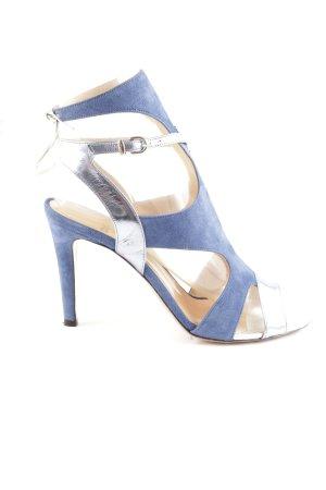 Oxitaly High Heel Sandaletten blau-silberfarben Party-Look