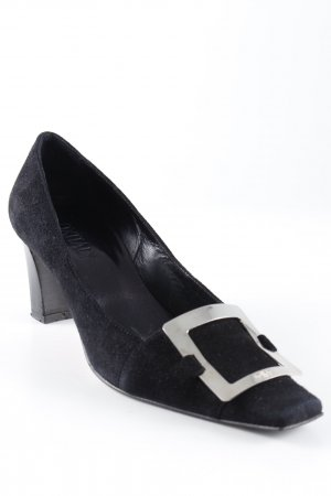 Oxitaly Loafers black-silver-colored elegant