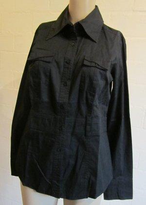 OXMO: Schwarze Bluse mit Stickerei, betonte Taille, Gr.M