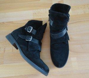 OXMOX Ankle Boots Stiefel schwarz Gr. 40 Schnallen Leder