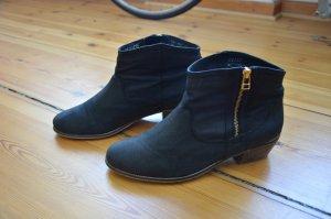 OXMOX Velour Leder Boots mit Gold Detail am Absatz