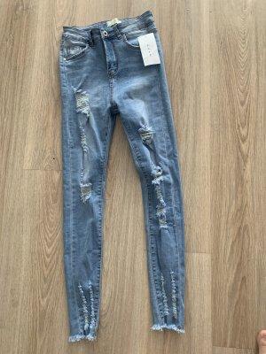Tube jeans azuur-staalblauw
