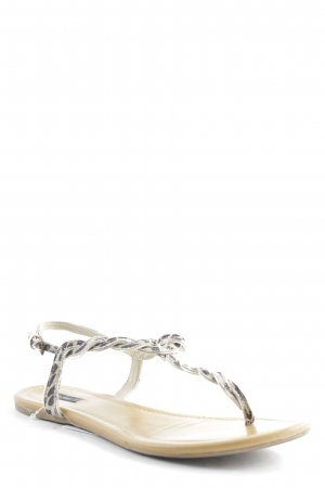 Oysho Toe-Post sandals black-beige animal pattern animal print