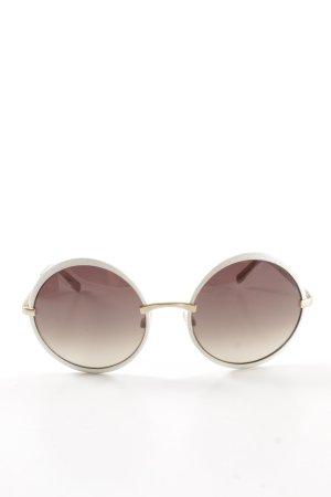P1 Eyes runde Sonnenbrille weiß-goldfarben Casual-Look