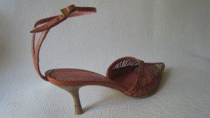 Sandalo con cinturino e tacco alto beige-rosa Pelle