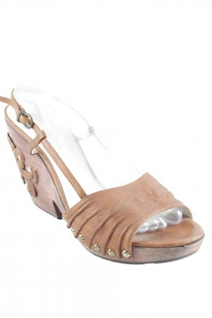 Paco Gil Platform High-Heeled Sandal cognac-coloured wooden look