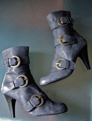 PACO GIL Stiefeletten 41 40,5 blau grau feminin Heels Designer Schnallen Miu