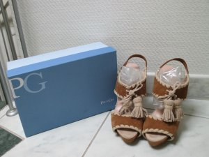 Paco Gil Platform High-Heeled Sandal brown-beige leather