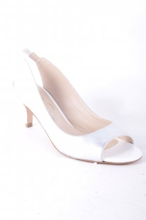 Paco Gil High-Heeled Toe-Post Sandals silver-colored-white shimmery