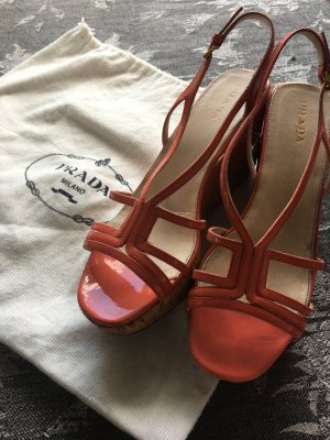 Prada Platform High-Heeled Sandal salmon leather