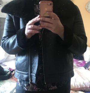 Page One Damen Kunstleder Jacke Bikerjacke schwarz mit Fell gefüttert 42 neu