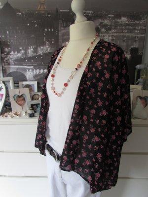 Page One*Süße Chiffon Kimono Bluse*schwarz-rosa Millesfleures Japan-Style*38/40