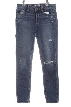 Paige Skinny Jeans stahlblau Used-Optik