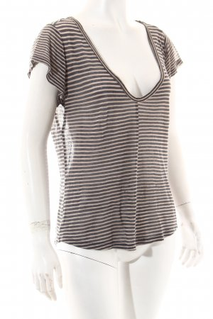 Paige T-Shirt grau-beige Streifenmuster Casual-Look