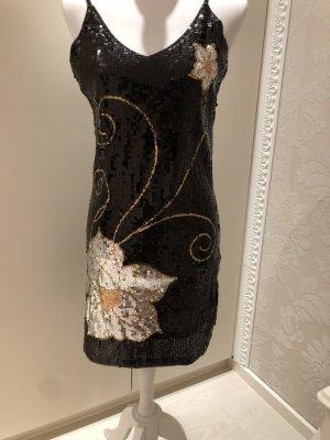 Pailetten Mini Kleid schwarz gemustert