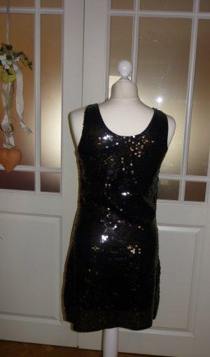 Pailetten Mini Kleid- schwarz/gold/Lila Gr. S