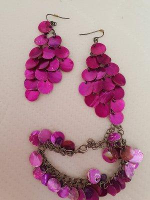 Bijou Brigitte Pendiente rojo frambuesa-rosa