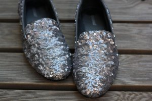 Pailetten Schuhe silber Glitzer Mokassins Ballerina metallic 38 Deichmann