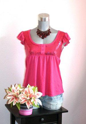 Pailetten Shirt Gr.36/38 Pink Babydoll Blogger