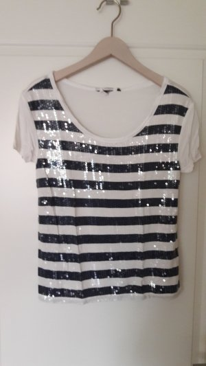 T-shirt rayé blanc-bleu foncé tissu mixte