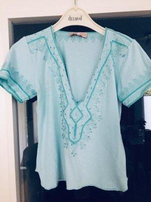 Pailetten T-Shirt Türkis mit Pailettenstickerei