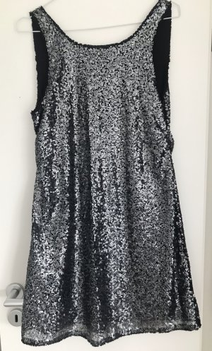 Tom Tailor Denim Sequin Dress silver-colored-black