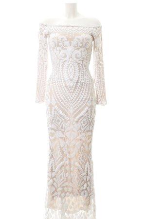 Pailettenkleid weiß-beige abstraktes Muster Elegant