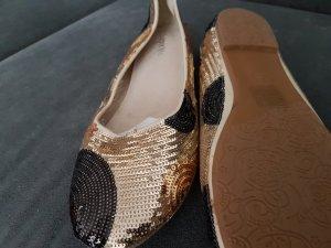 Pailletten-Ballerinas in schwarz-silber-gold - neu -