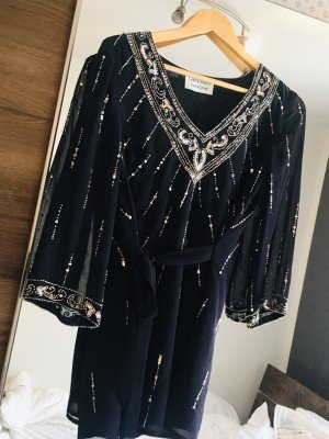 Carry Allen by Ella Singh Kimono blouse donkerblauw-zilver