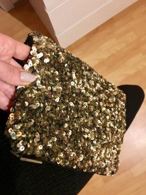 Pailletten Clutch boho top Gold braun schwarz zara Style