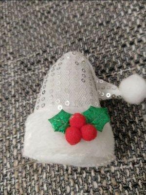 Pailletten Hut Mini silber weiß Weihnachten Christmas