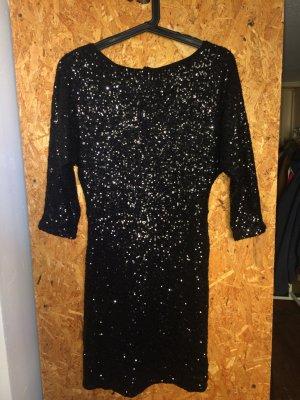 Pailletten Kleid 3/4 Arm schwarz