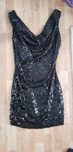 pailletten Kleid kurz schwarz neu M